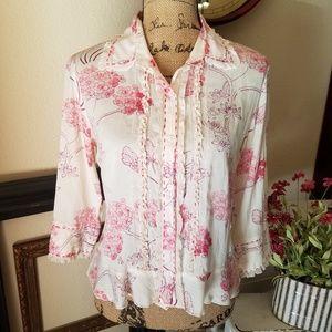 Fei Anthropologie silk floral button down